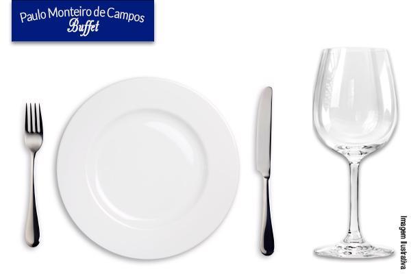 Aluguel conjunto refeição! Prato refeição+faca+garfo+taça no Paulo Monteiro de Campos. Por apenas R$ 1,10 o conjunto.
