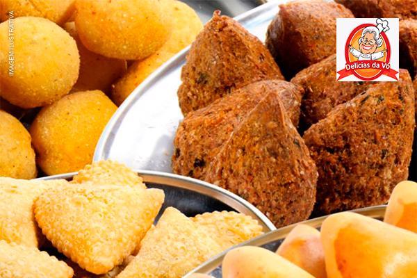 Cento de Salgadinhos (Assado ou Frito) para Festas ou Eventos da Delícias da Vó, por apenas 24,90.
