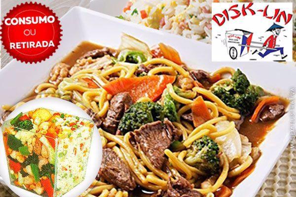 Consumo ou Retirada no local!! Executivo Disk-Lin: 450g de Yakisoba + 450g de Risoto Shop Suey, por 15,99. Serve 2 pessoas!