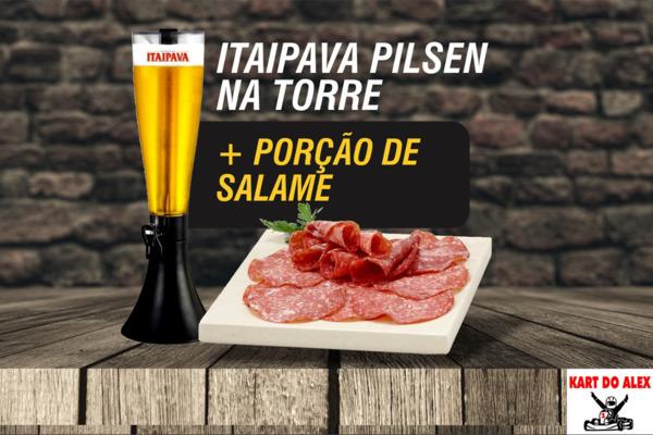 Nesse calor não perca! Torre de Cerveja mais Porção de Salame fatiado!