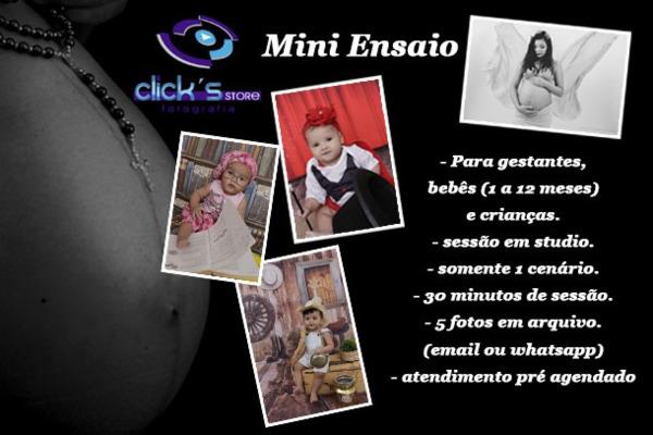 Mini Sessão Fotográfica Promocional no Clicks Store Fotografia por apenas R$ 19,90.