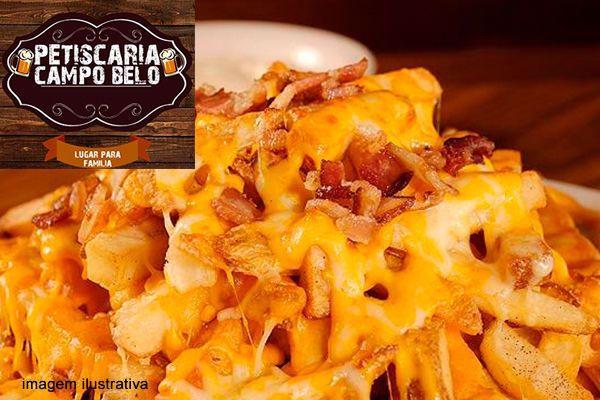 Porção  de Batata com Bacon e Cheddar, por apenas 7,99. Serve até 2 pessoas!