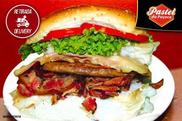 Venha experimentar o Monstro X-Salada Bacon do Pastel do Paçoca por apenas R$ 12,99.