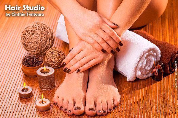Manicure + Pedicure + Hidratação Capilar no Hair Studio, de 85,00 por apenas 29,90.
