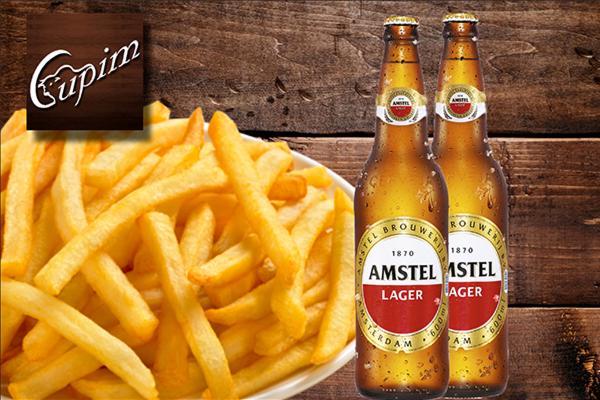Combo Happy Hour! 2 Garrafas de 600ml Amstel + Porção Grande de Batata Frita no Cupim. Por apenas R$ 29,90!
