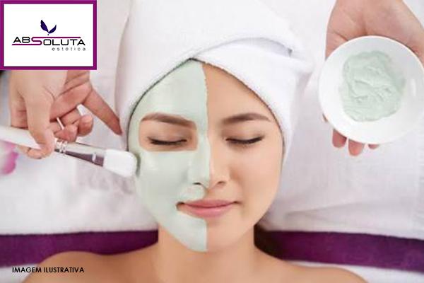 Promoção limpeza de pele com peeling na Absoluta Estética. De $129.90 por apenas R$69.90