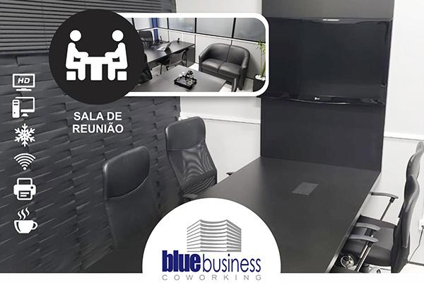 Pacote mensal de 10 horas de sala de reunião em coworking completo de R$ 200,00 por R$ 100,00, na Blue Business Coworking.
